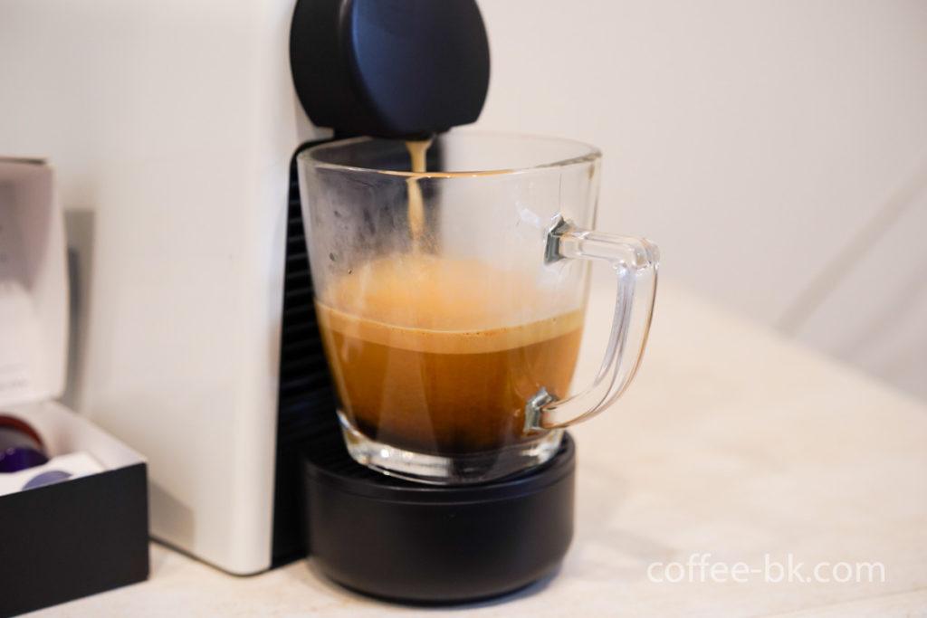 ネスプレッソで抽出するコーヒー